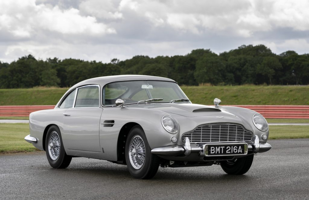 "Still of a Aston Martin ""Goldfinger"" DB5 car from the 1964 movie."